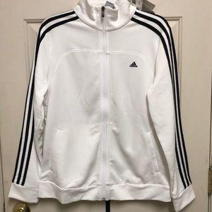 New, Adidas White & Black 3 Stripe Jacket size L